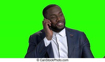 réussi, conversation, téléphone., mobile, homme affaires