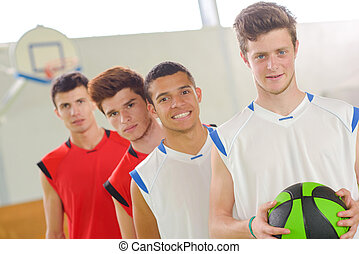réussi, cour basket-ball, équipe