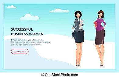 réussi, dessin animé, femmes affaires, deux