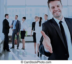 réussi, donner, homme affaires, portrait, main