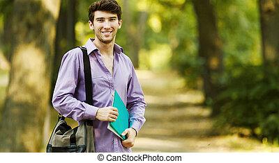 réussi, ensoleillé, day., parc, livres, étudiant