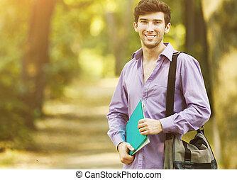 réussi, ensoleillé, parc, day., livres, étudiant