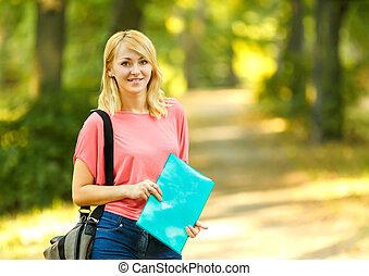 réussi, ensoleillé, parc, livres, étudiant, girl, jour