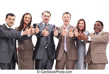 réussi, equipe affaires, à, pouces haut