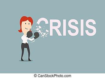 réussi, femme affaires, battements, crise