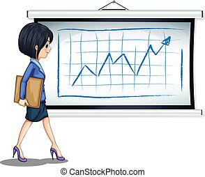 réussi, femme affaires, diagramme