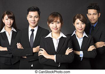 réussi, femme affaires, jeune, equipe affaires