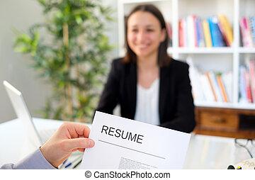 réussi, femme, candidat, pendant, entretien travail