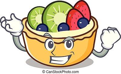 réussi, fruit, caractère, dessin animé, tarte