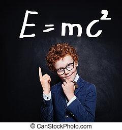 réussi, garçon, jeune, apprentissage, science
