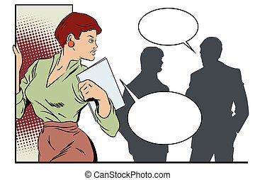 réussi, gens., businesswoman., silhouettes, autre, femme