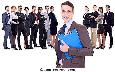 réussi, heureux, equipe affaires