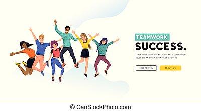 réussi, heureux, groupe, équipe