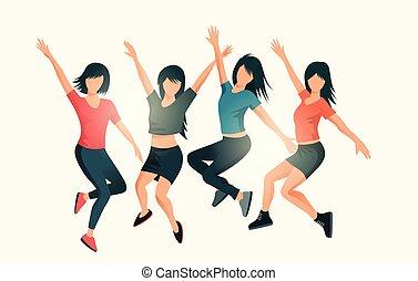 réussi, heureux, sauter, femmes