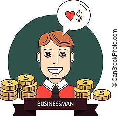 réussi, homme affaires, argent