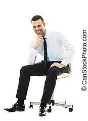 réussi, homme affaires, chaise, séance