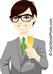 réussi, homme affaires, grillage, asiatique, champagne
