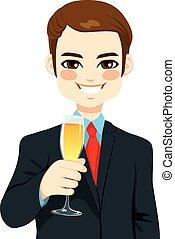 réussi, homme affaires, grillage, jeune, champagne