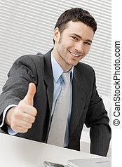 réussi, homme affaires, heureux