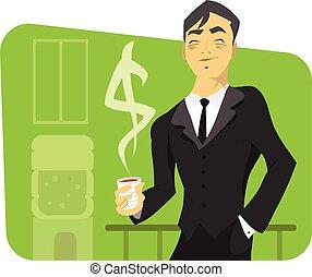 réussi, homme affaires, illustration