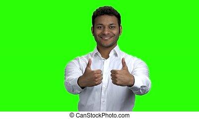 réussi, homme affaires, indien, faire gestes, pouces, haut.