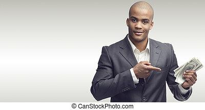 réussi, homme affaires, jeune, africaine