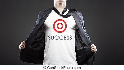 réussi, homme affaires, jeune, business, reussite