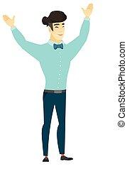 réussi, homme affaires, jumping., asiatique