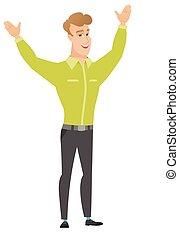 réussi, homme affaires, jumping., caucasien