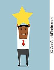 réussi, homme affaires, sauter, étoile, éditorial