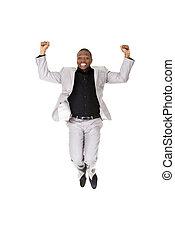 réussi, homme affaires, sauter, heureux