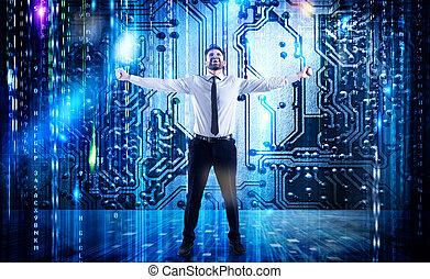 réussi, homme affaires, service, internet