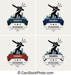 réussi, homme affaires, tamponner, logo, design.