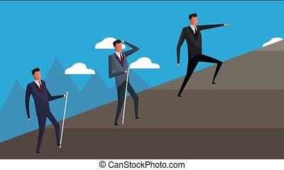 réussi, hommes affaires, équipe, colline, escalade