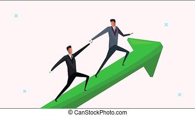 réussi, hommes affaires, équipe, flèche, escalade