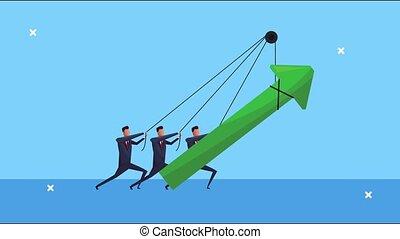 réussi, hommes affaires, équipe, flèche, traction