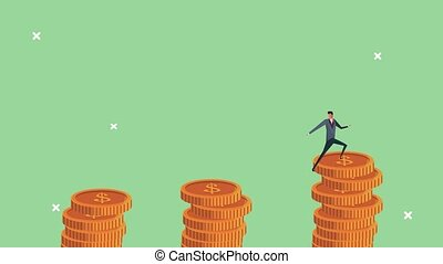 réussi, hommes affaires, équipe, pièces, escalade, argent