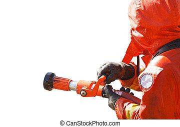 réussi, image, travail, pompier, jeune
