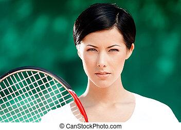 réussi, joueur, tennis, femme, portrait