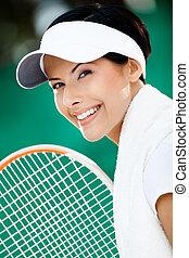 réussi, joueur, tennis, haut fin