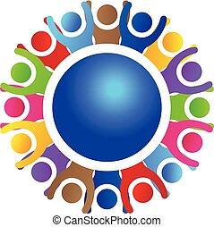 réussi, logo, collaboration, mondiale, gens