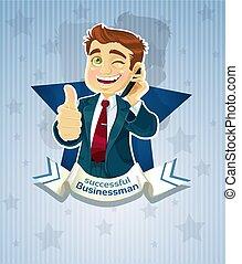 réussi, mignon, businessman-, affiche