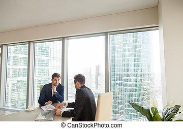 réussi, partenaires, réunion, bureau, business