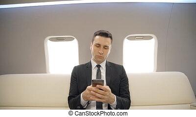 réussi, plane., messages, privé, téléphone, chef, mobile, ...