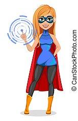 réussi, porter, femme, superhero, déguisement