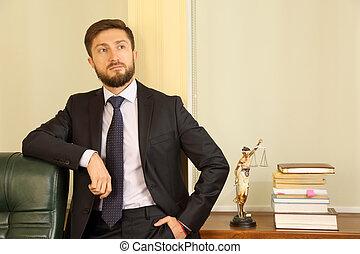 réussi,  portrait, avocat, jeune, bureau