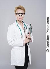 réussi, portrait, docteur féminin