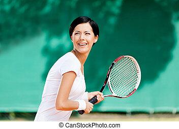 réussi, portrait, joueur tennis