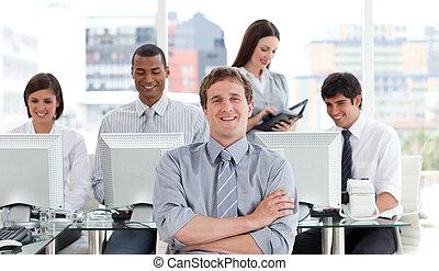 réussi, portrait, travail, equipe affaires