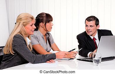 réussi, réunion, équipe bureau